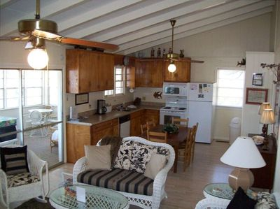 a view of the kitchen from the family room-