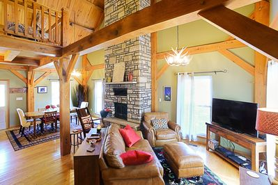25' stone fireplace with woodstove insert