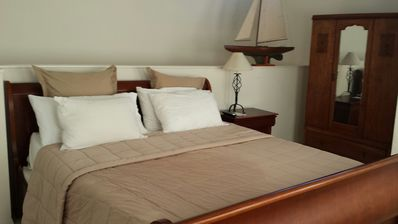 Upstairs King Size Bed with Memory Foam Mattress. Beach View from the Bedroom