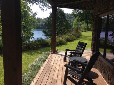 Photo for Cozy Mtn Lakefront Cabin on Wolf Lake w/Pontoon boat/Kayaks/Hot Tub/Firepit