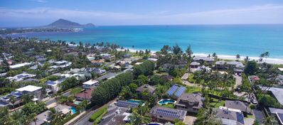 Aerial view of the property with ocean and Moku Islands on the left