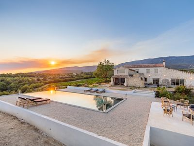 Photo for New House near Lourmarin, 5 bedrooms, heated pool, with 360 views!
