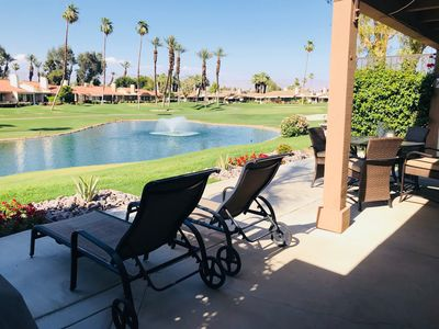 Beautiful new landscaping.  Table with 4 chairs, 2 comfy loungers.