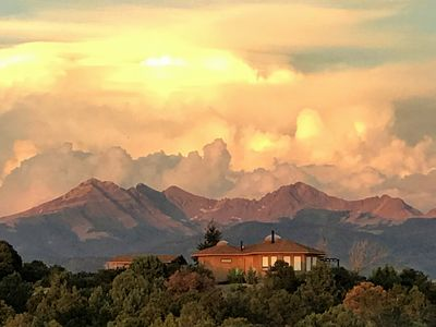 Enchanted Retreat with the La Plata mountains to the east reflecting the sunset.