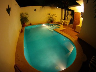 Take a dip in the pool at night and enjoy the stars above