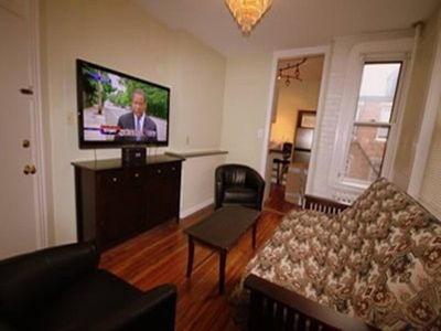 Living room with large screen TV