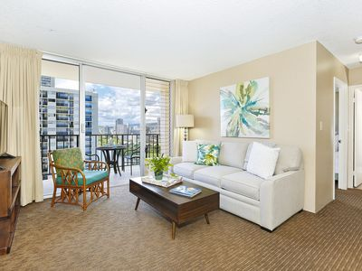 Photo for High Floor with Ala Wai Canal View! A/C, W/D, WiFi, Parking!