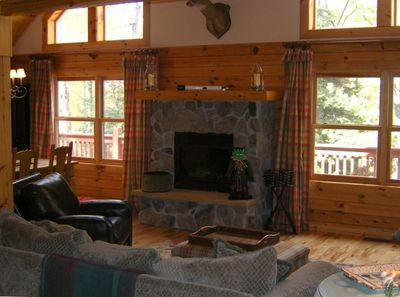 Open Living, Dining & Kitchen with Hardwood Floors & FP