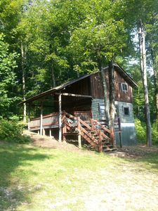 Photo for Rustic Log Cabin on 25 Acre Mountain Retreat, Relax with Nature, Pond, & Stream!