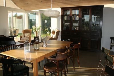 Dining table (seats 8-12 people) and our wonderful book cabinet