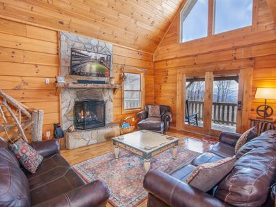 Photo for 4BR Log Cabin, Long Range Mountain Views, King Suite with Jetted Tub, Hot Tub, Games Tables!