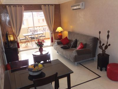 Photo for 2-room apartment in a calm marrakech gueliz center + terrace and pool