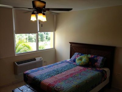 all rooms equipped with brand new A/Cs, ceiling fans and shades
