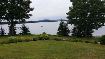 Mt. Desert Island in distance, Flanders Bay and perennial gardens