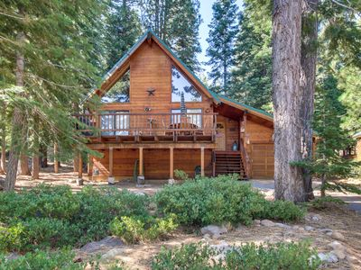 Photo for Spacious cabin in the woods w/ shared pool, hot tub - near golf, lake, & slopes!