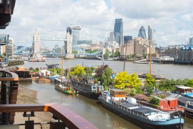 View from balcony of Tower  Bridge & River Thames, with City finacial district