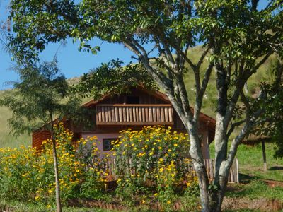 Photo for 18km from Campos Jordão comfortable chalet panoramic view up to 6 people fireplace