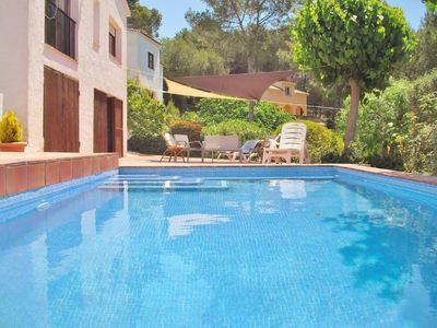 Photo for Pool villa with free wifi and beautiful mountain views near Sitges, Barcelona - CD366