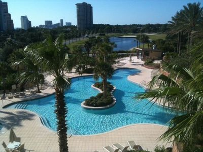 This is the view from your 4th floor Westerly facing unit overlooking the pool!