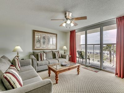 Photo for Crescent Shores 110, 4 Bedroom Beachfront Condo, Hot Tub and Free Wi-Fi!