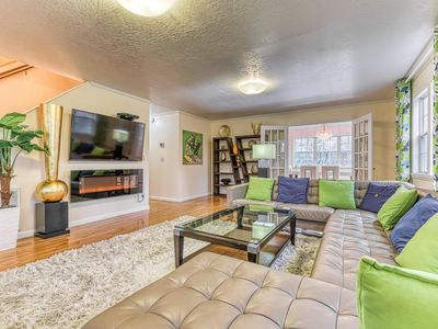 NEW LISTING! Modern home in quiet setting w/ pool table & balcony-close to town