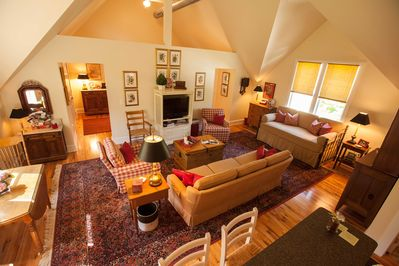 Guest House great room features soaring 17 foot ceilings!
