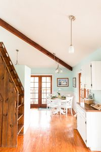 Natural light and exposed wood throughout the cottage