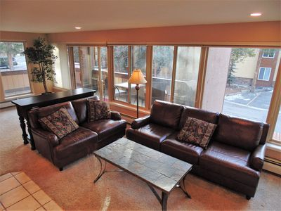 Living room with leather sofa and loveseat