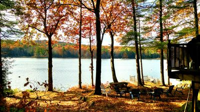 Sebago lake cottage that sits close to the water on protected cove..