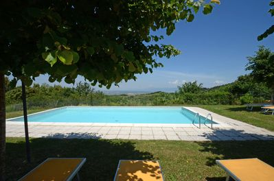 From the heated swimming pool you can see  Chiusi and Trasimeno Lake & villages.