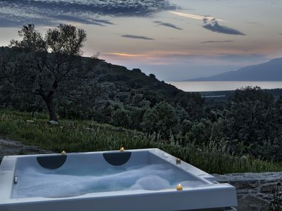 Photo for Olive luxury villa Omicron with private outdoor jacuzzi spa, amazing sea view