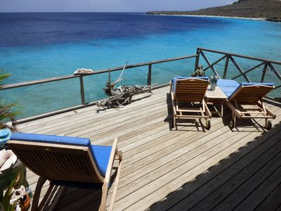 Teak lounges and rocking chair with the best private views on the island!