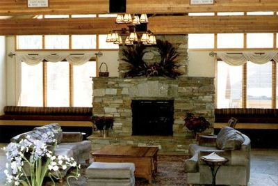 Lobby with Fireplace and Comfortable Furniture