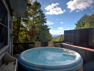 Photo for A fun barn-turned-home near Bearwallow Mountain! Hot tub with mountain views!