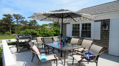 Outdoor dining on the deck with Gas grill-142 George Ryder Road S Chatham Cape Cod - New England Vacation Rentals