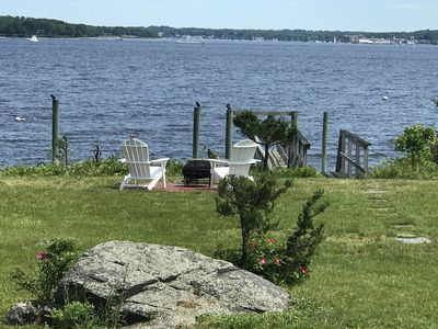 Classic waterfront cottage on Prudence Island, private beach, dock & mooring