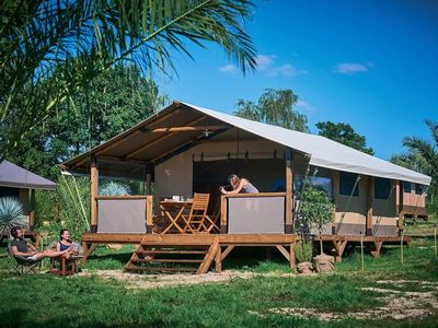 Photo for Camping Le Mas des Chênes *** - Kenya Lodge Tent 3 Rooms 5 People