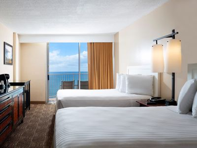 Photo for Aston Waikiki Beach Hotel - Oceanfront Two Doubles Mobility Accessible Roll-in Shower
