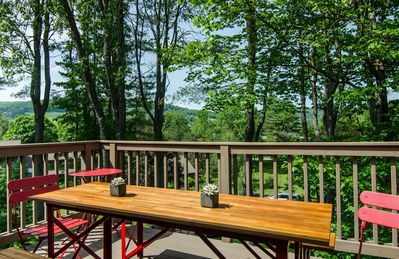 Outside deck with a view of the rolling hills