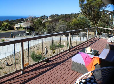 Part of the L-shape deck over looking the Sapphire Coast to relax & enjoy