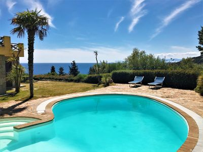 Photo for Villa Smeralda - Salt water pool, Sea view, Mediterranean nature 200 mt from sea