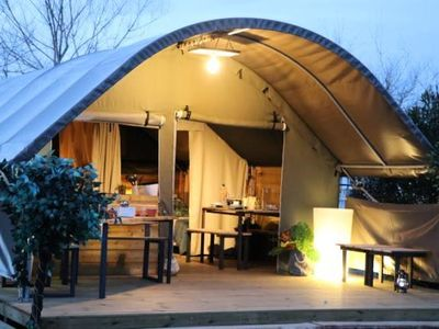 Photo for Camping du Viaduc ** - Tent Kibo 3 rooms 5 people