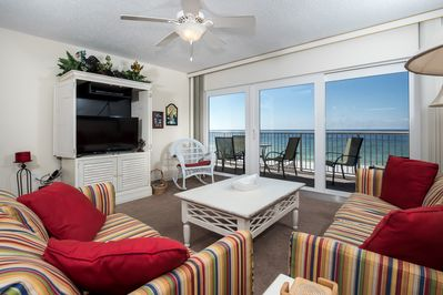 Large patio glass doors let in the sights and sounds of the Gulf - You have UNIMPEDED views of the silky white soft sand and emerald color waters for miles and miles.