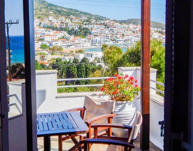Photo for Family accommodation property at the picturesque Batsi bay, in Andros Island, Cyclades, Greece.