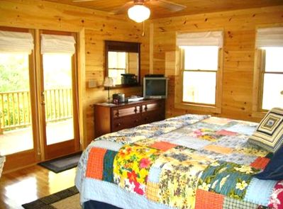 Master Suite Bedroom with King Pillowtop, TV/DVD, Doors to Hot Tub, Bath