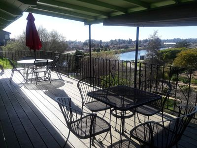 Enjoy a BBQ on our 35 ft. long deck.