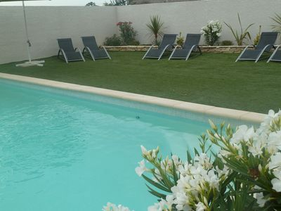 Photo for Large T2 with small private garden in residence swimming pool