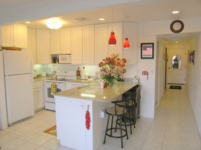 "Our ""Chili Pepper"" themed Kitchen, with granite counters and new appliances."