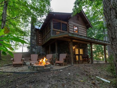 Photo for Log home in private neighborhood with covered porch & fireplace