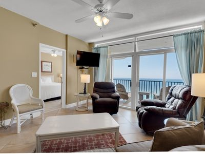 Photo for Airy, gulf front condo, Beach chairs included, Close to dining